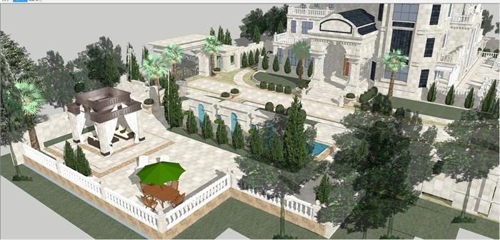法式大庄园别墅建筑与景观方案SU模型图片