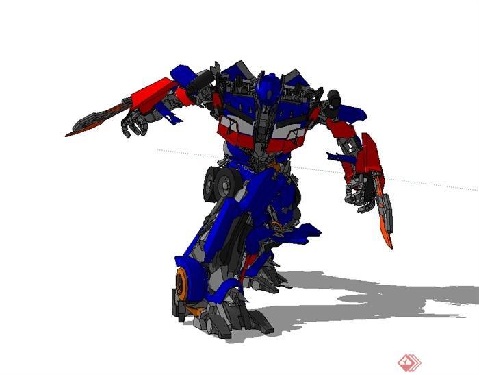 擎天柱机器人设计su模型