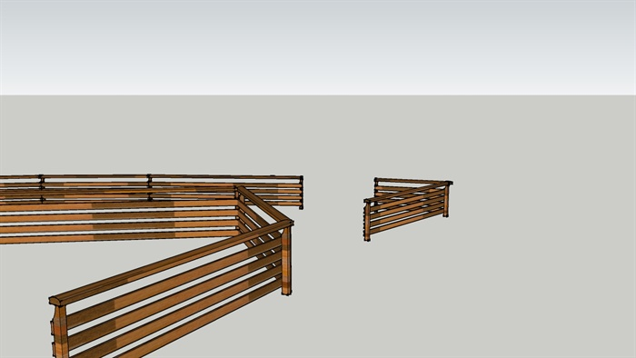 现代风格详细木质护栏设计su模型[原创]