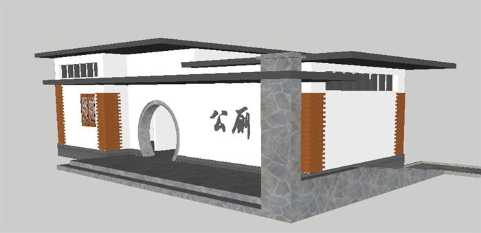 新中式小型公厕su模型[原创]