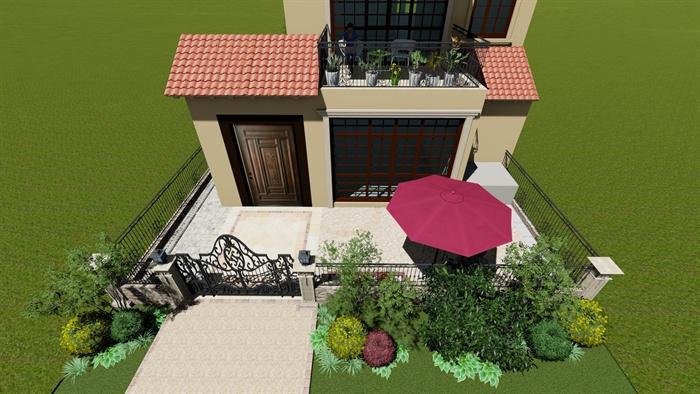 某欧式别墅庭院景观规划su模型及cad施工图[原创]