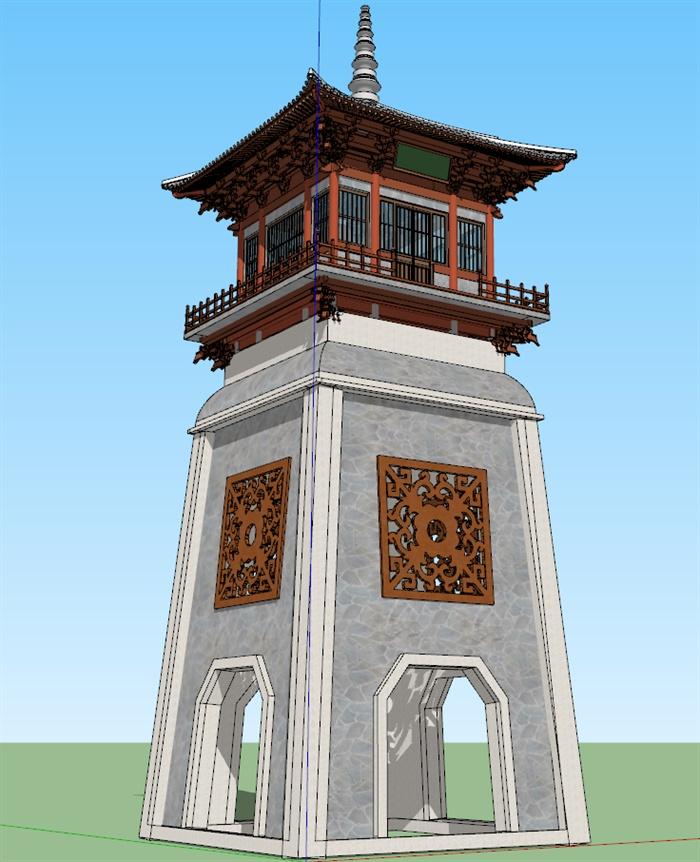 古典中式塔楼景观塔设计su模型[原创]