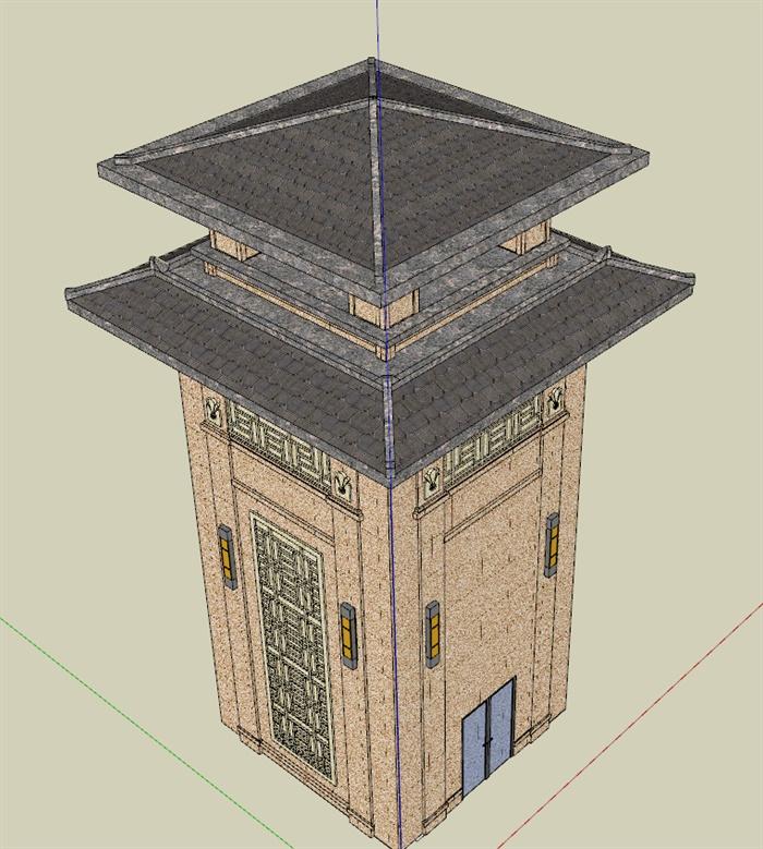 汉式风格塔楼景观塔详细设计su模型[原创]
