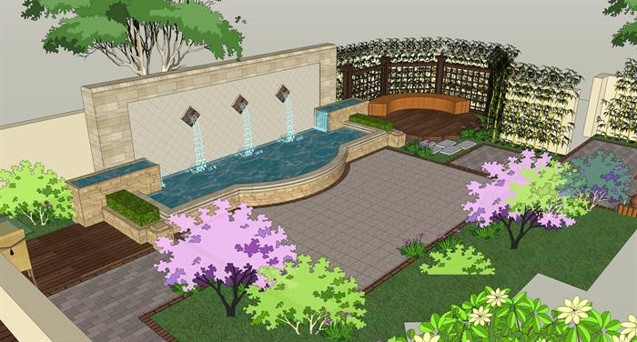 某现代风格详细的田园别墅庭院设计su模型及ppt方案[原创]