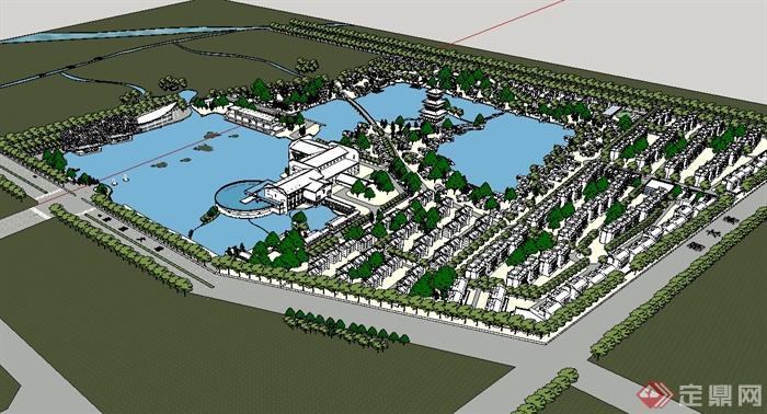 现代中式风格住宅小区风景规划设计su模型[原创]