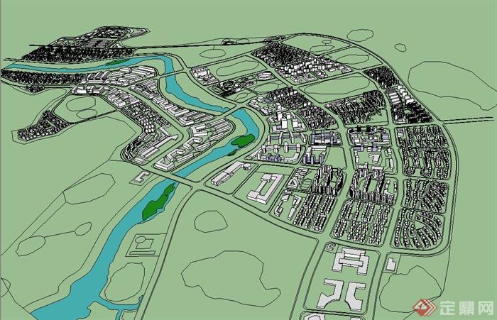 现代风格简单的城市设计体块完成su模型[原创]