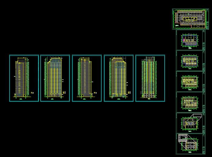 某现代酒店建筑平立剖cad方案设计(含效果图)[原创]