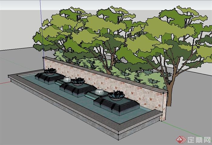 现代风格园林景观水景墙设计su模型[原创]