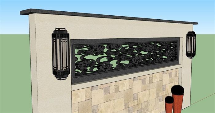 欧式风格详细的景墙设计su模型