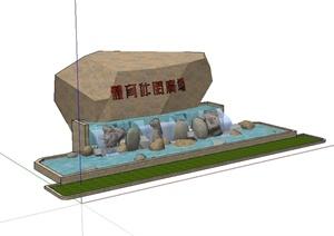 现代风格详细的景石水景设计SU(草图大师)模型