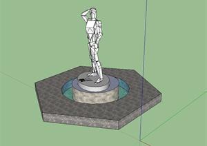 现代抽象小品人物雕塑SU(草图大师)模型