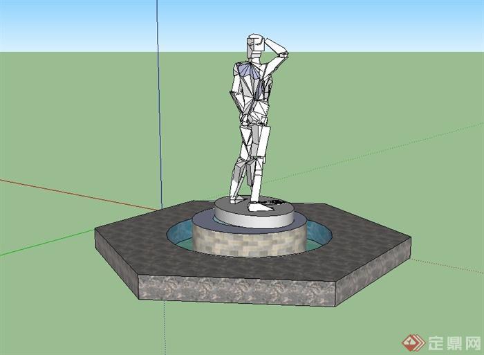 现代抽象小品人物雕塑su模型[原创]