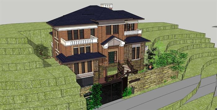 某山地住宅别墅建筑设计su模型
