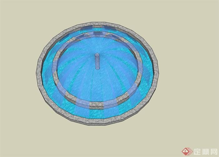 圆形详细的喷泉水池景观su模型[原创]