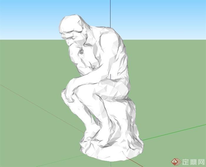 多种不同的人物,动物雕塑设计su模型[原创]