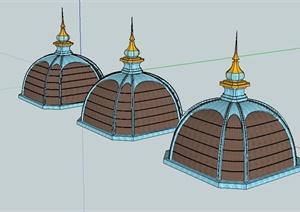 某欧式风格建筑顶设计SU(草图大师)模型