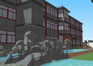 明清酒店庭院景观设计模型