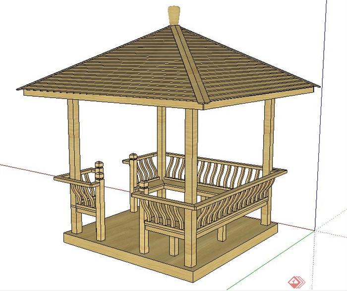 现代中式木质四角亭su模型[原创]