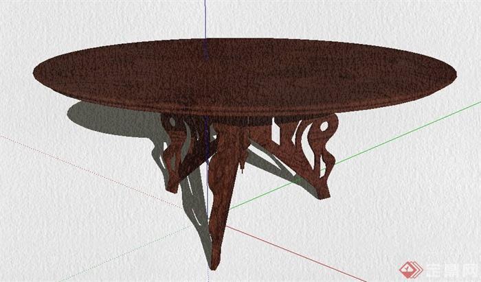 中式木质圆桌su模型[原创]