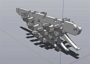 古典中式风格斗拱建筑素材设计SU(草图大师)模型