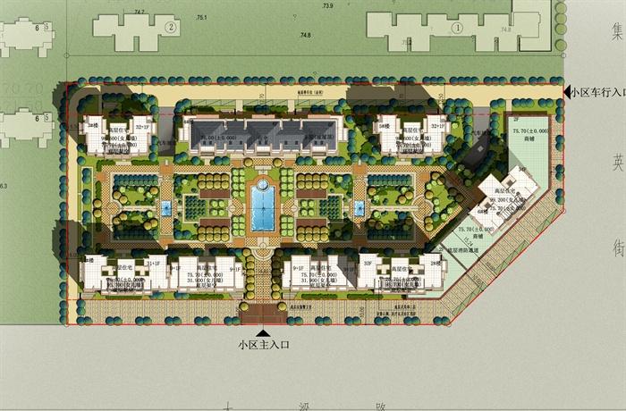 欧式风格住宅小区绿化彩色平面图PSD源文件