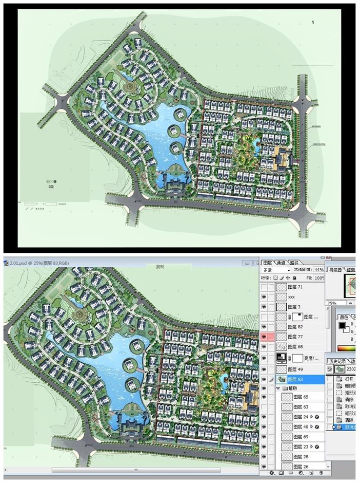 住宅小区整体规划彩色平面图psd源文件[原创]