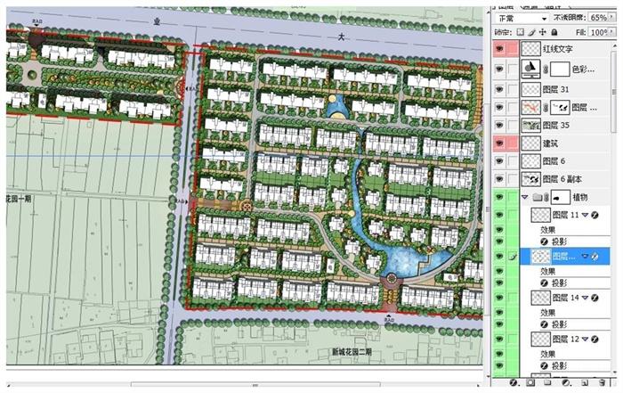 住宅小区整体规划及绿化设计彩色平面图psd源文件[原创]