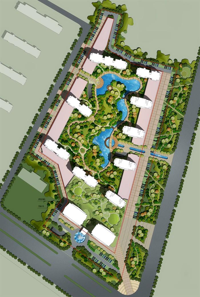高档小区整体规划绿化景观彩色平面图psd源文件[原创]