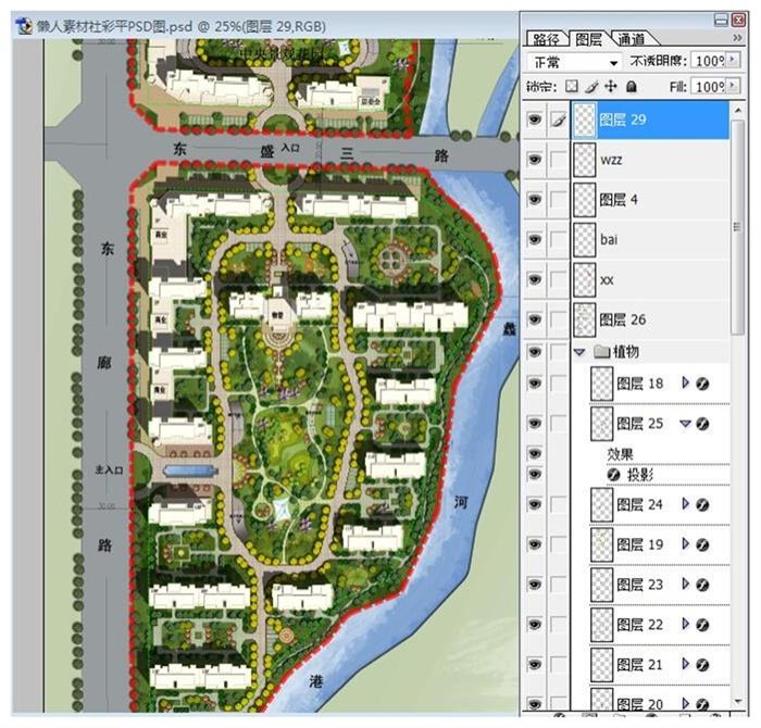 现代风格住宅小区景观彩色平面图psd源文件[原创]