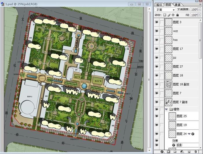 某现代风格高档住宅小区景观彩色平面图PSD源文件