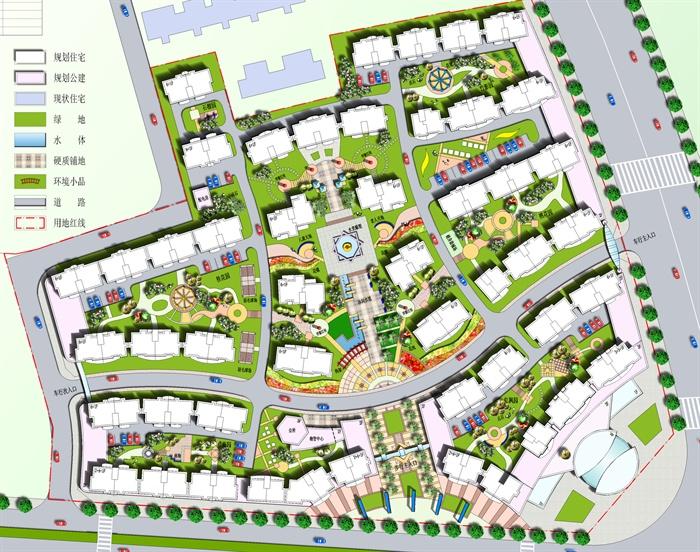 花山某住宅小区彩色平面图psd源文件[原创]图片
