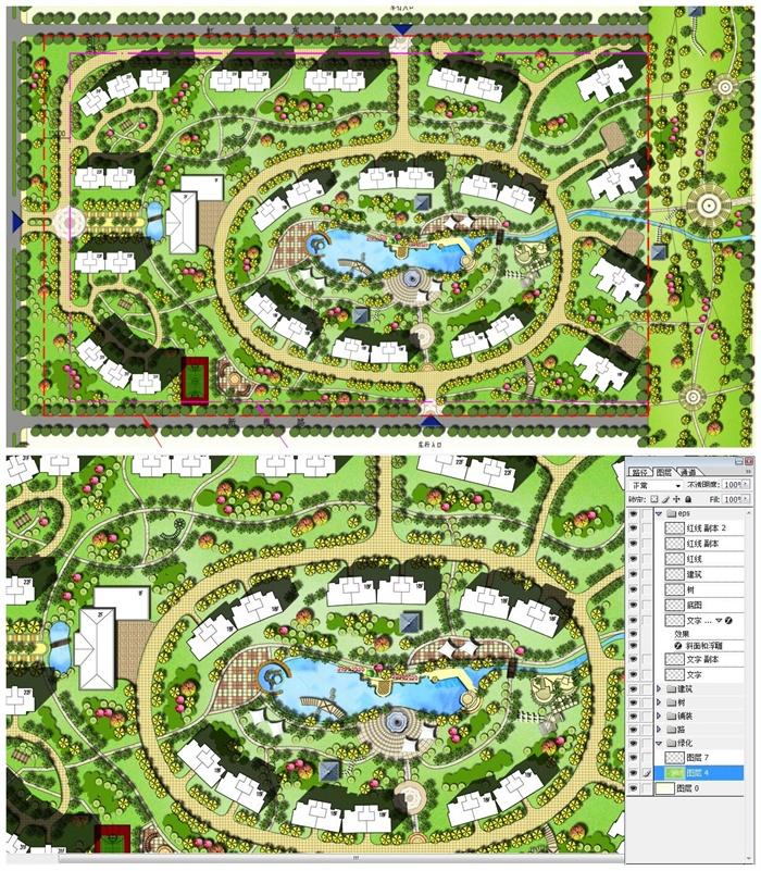 南京某住宅小区彩色平面图PSD源文件
