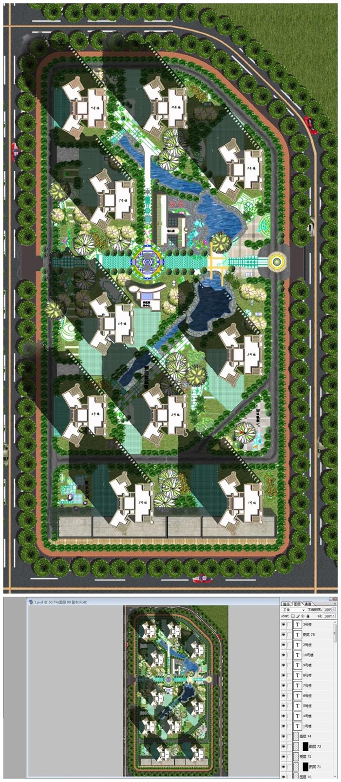 温州某住宅小区彩色平面图psd源文件[原创]