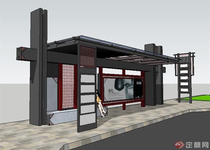 现代中式公交站台素材设计su模型[原创]