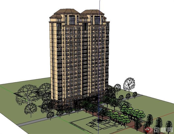 欧式风格详细的高层居住小区楼设计su模型[原创]