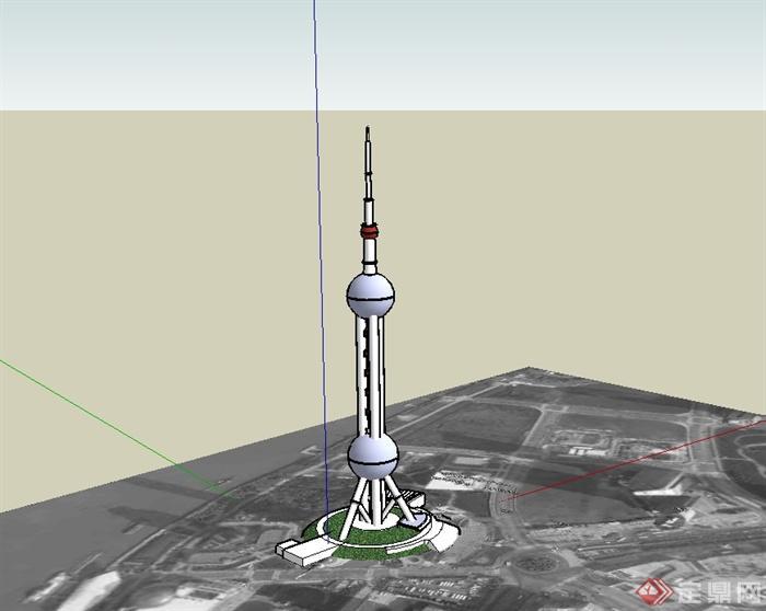 东方电视塔建筑su模型(1)