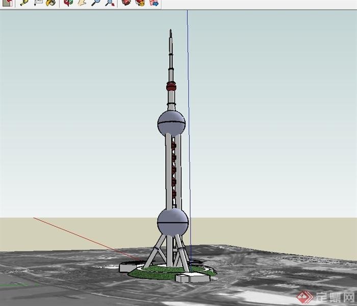 东方电视塔建筑su模型(2)