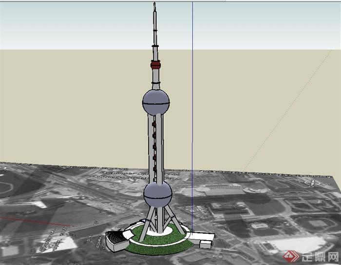 东方电视塔建筑su模型(3)