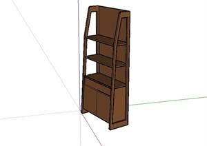 现代风格室内木书柜设计SU(草图大师)模型