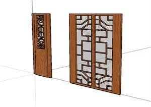现代中式风格详细的室内门SU(草图大师)模型