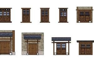 现代中式风格详细多种不同的建筑大门设计SU(草图大师)模型