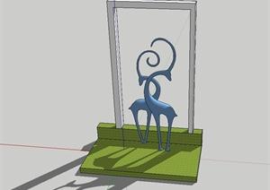 动物抽象雕塑小品SU(草图大师)模型