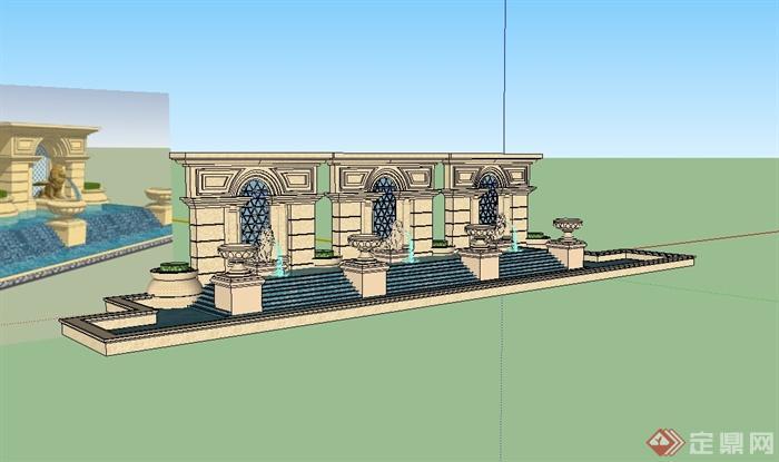 欧式风格详细的经典水池景墙设计su模型[原创]