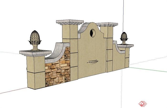 欧式风格详细精致的水池景墙设计su模型[原创]