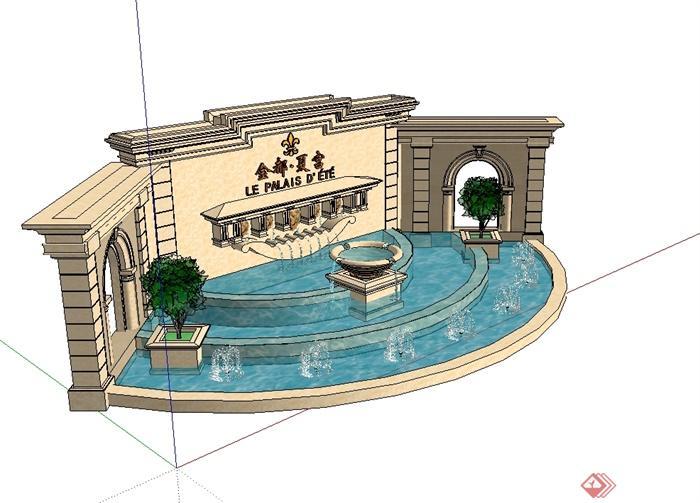 欧式风格详细的景墙喷泉水池设计su模型[原创]
