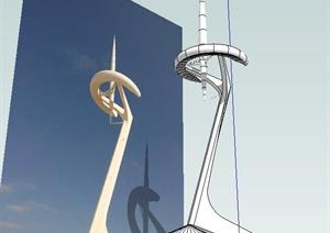 巴塞罗那奥林匹克电视塔SU(草图大师)模型