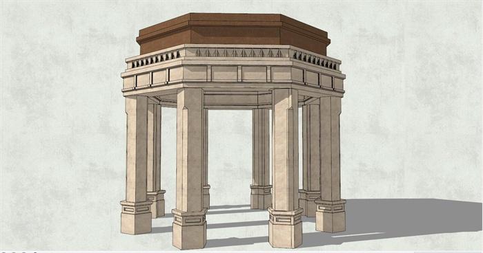 欧式亭子  (3)(2) 欧式八角景观亭详细设计su模型