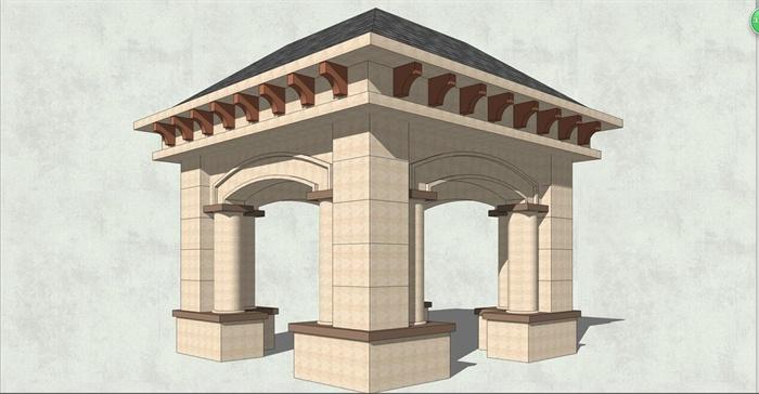 欧式亭子 (4)(2) 欧式四角景观亭设计su模型
