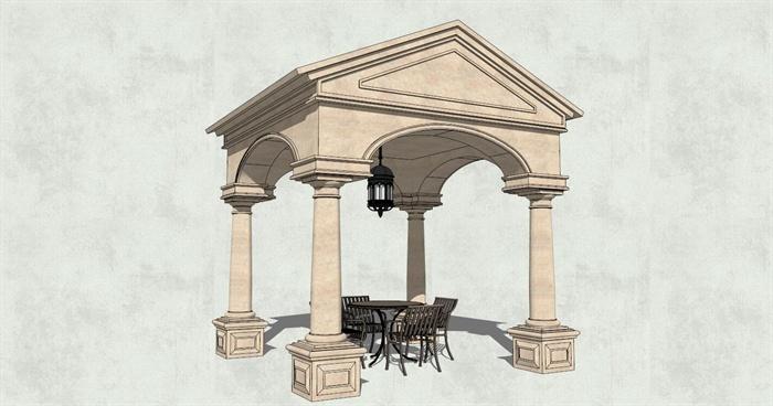 欧式希腊风格古典景观亭子设计su模型[原创]