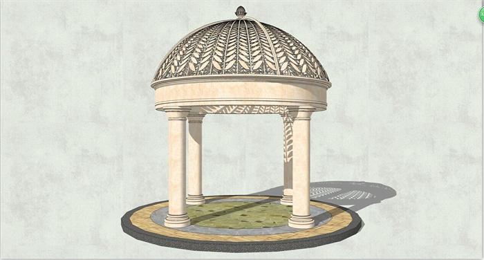 欧式圆形雕花景观亭子su模型[原创]